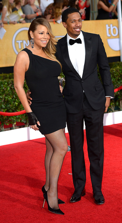 . Mariah Carey and Nick Cannon arrives at the 20th Annual Screen Actors Guild Awards  at the Shrine Auditorium in Los Angeles, California on Saturday January 18, 2014 (Photo by Michael Owen Baker / Los Angeles Daily News)