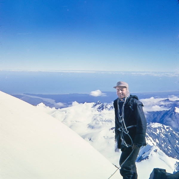 1953 JER Mathews heading towards Pioneer Hut, West Caost by Franz Josef.jpg