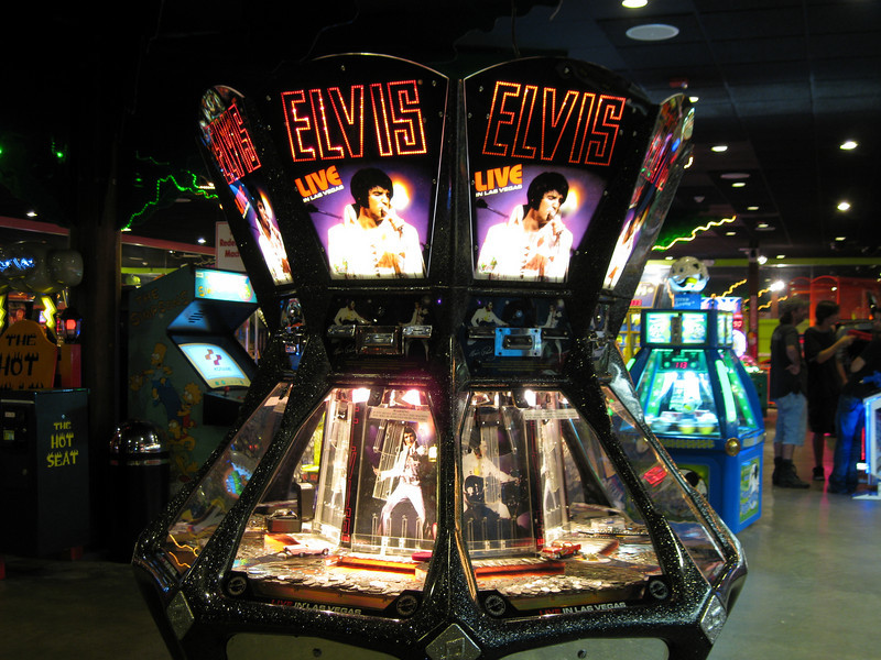 Elvis coin pusher redemption game at the Palace Arcade.