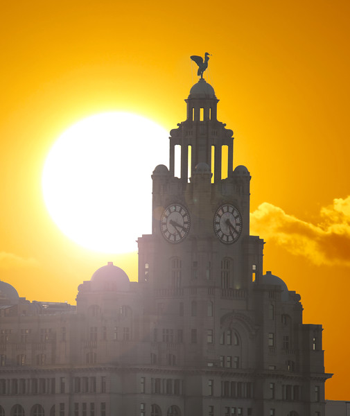 Sunrise over the Royal Liver Building, Liverpool