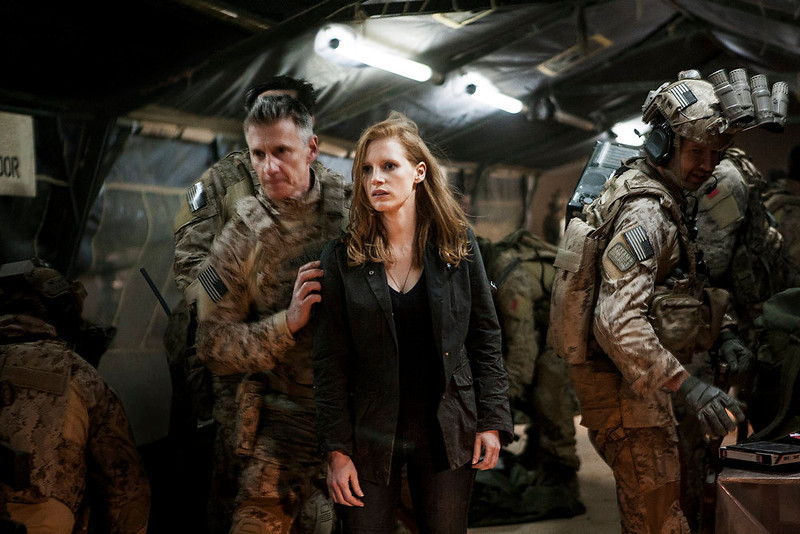 ". Stationed in a covert base overseas, Jessica Chastain (center) plays CIA operative Maya in ""Zero Dark Thirty.\"" Provided by Columbia Pictures."