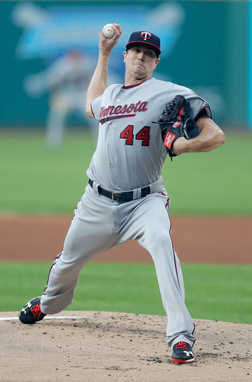 . Minnesota Twins starting pitcher Kyle Gibson delivers in the first inning of a baseball game against the Cleveland Indians, Tuesday, Aug. 28, 2018, in Cleveland. (AP Photo/Tony Dejak)