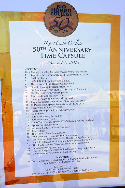 . A list of what is buried in the time capsule during a celebration of the Rio Hondo Colleges 50th anniversary with a time capsule burial, cake at Rio Hondo College on Thursday, March 14, 2013 in Whittier, Calif.  (Keith Birmingham Pasadena Star-News)