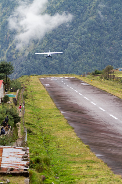 A plane takes off from Tenzing-Hillary Airport in Lukla, Nepal