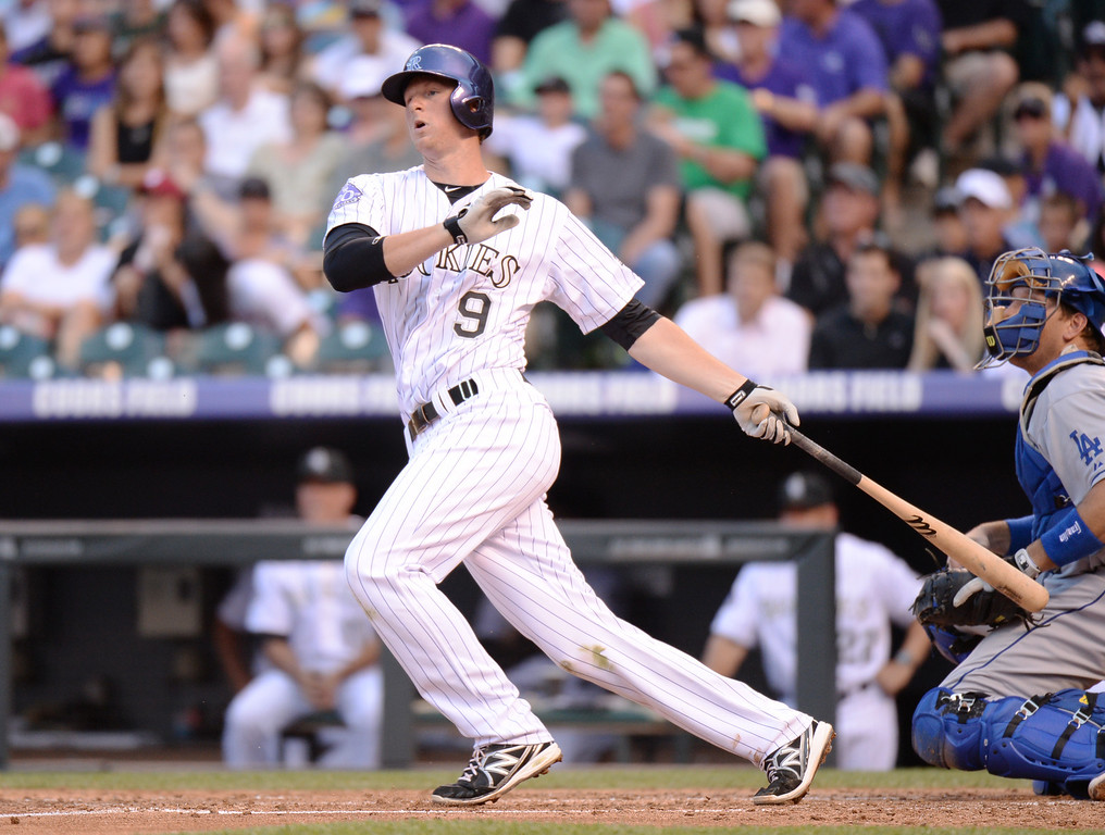 . DENVER, CO. - July 03: DJ LeMahieu of Colorado Rockies hit double and scored 2 RBI from Zack Greinke of Los Angeles Dodgers (21) in the 2nd inning of the game at Coors Field. Denver, Colorado. July 3, 2013. (Photo By Hyoung Chang/The Denver Post)