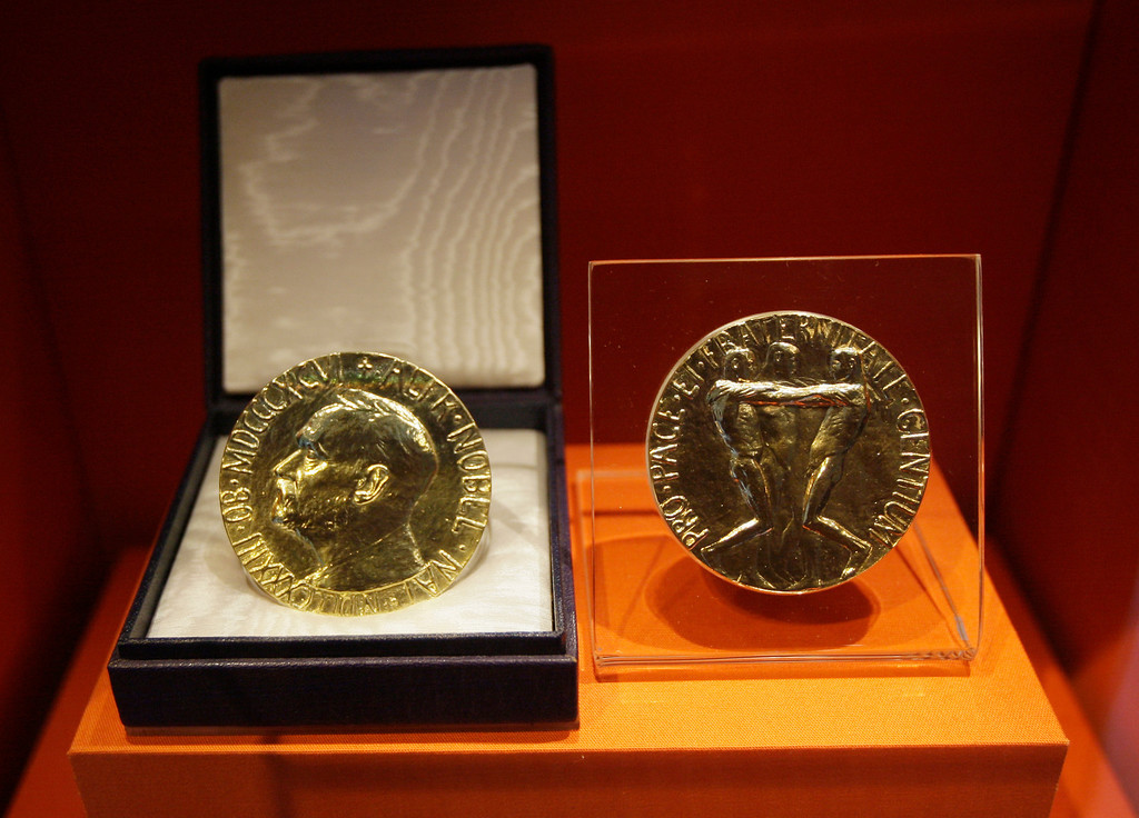 . Former President Jimmy Carter\'s Nobel Peace Prize  is shown Tuesday, Sept. 28, 2009 at the Jimmy Carter Library and Museum in Atlanta. The museum is scheduled to reopen Sept. 30 after a $10 million redesign. (AP Photo/John Bazemore)