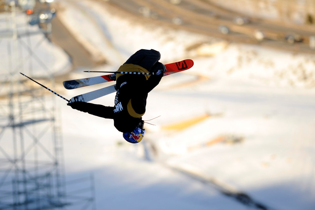 . ASPEN, CO. - JANUARY 25:  Noah Bowman goes upside down during the Ski Superpipe Men\'s Finals at Winter X Games 2015, Sunday, January 25.  (Photo By Mahala Gaylord/The Denver Post)