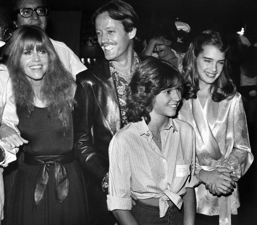 . Jane and Peter Fonda, Kristy McNichol and Brooke Shields, from left, arrive at a Halloween Celebrity Disco Dance benefit in Los Angeles\\, Nov. 1, 1978. Unlike most of the approximately 1,000 guests, who came for the most part in costume, they and the other celebrities attending wore civilian clothes. Event was on behalf of Campaign for Economic Democracy, an organization promoting solar energy, headed by Ms. Fonda. (AP Photo/Reed Saxon)