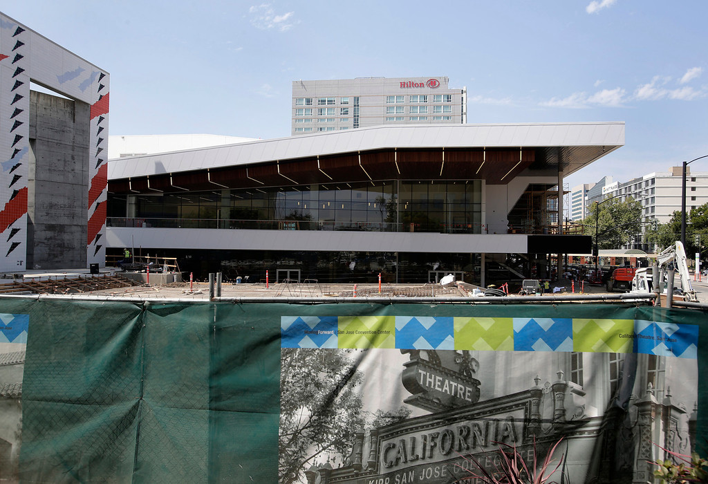 . The 125,000-square-foot  expansion and renovation of the San Jose McEnery Convention Center takes shape in San Jose, Calif. on Tuesday, Aug. 6, 2013. Pictured is the Grand Ballroom which overlooks the Plaza Terrace. (Gary Reyes/Bay Area News Group)