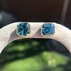 8.41ctw Blue Zircon Asscher Cut Bezel Earrings 1