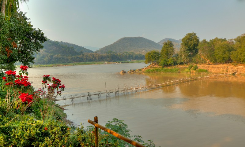 Bamboo Bridge on the Mekong River - Luang Prabang, Laos