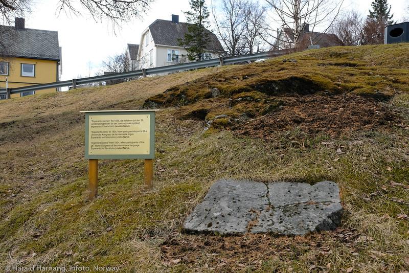 Esperanto-steinen  fra 1934, like ovenfor Narvik jernbanestasjon. Foto 24. april 2021.