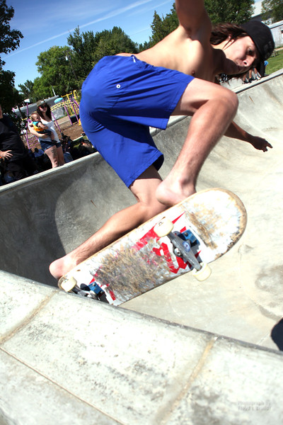 Havre Daily News/Floyd Brandt  Big Sandy Skate Jam to benefit the Big Sandy skate park Saturday. Built by a foundation started by former resident Jeff Ament. Skaters came from all over the state to jam in the park. Skater Scott Nelson from Helena