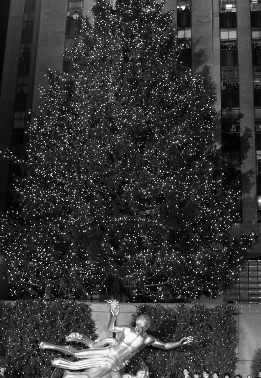 . The Rockefeller Center tree dwarfs the statue of Prometheus below, on the day of the annual tree lighting in New York City\'s Rockefeller Center, Dec. 3, 1984. (AP Photo/Mario Suriani)