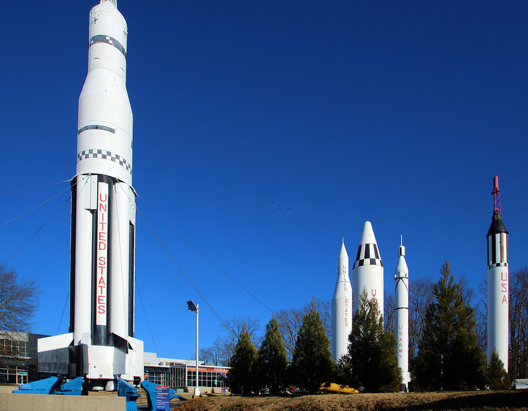 A field of rockets at the Marshall Space Center Museum