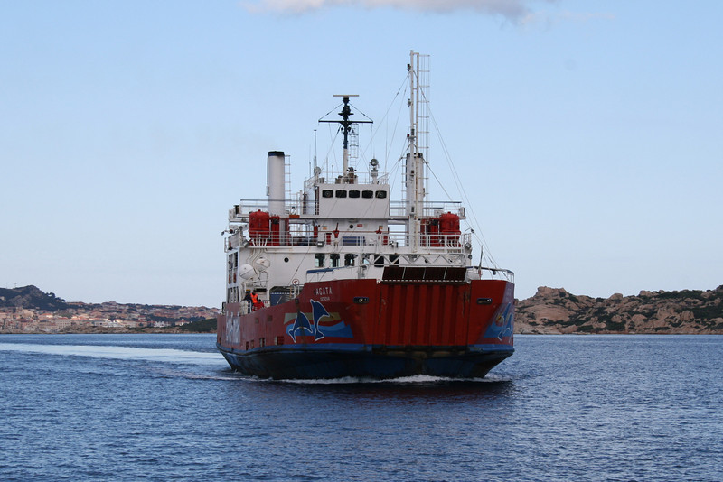 Open deck ferry AGATA on La Maddalena - Palau (Sardinia) route.
