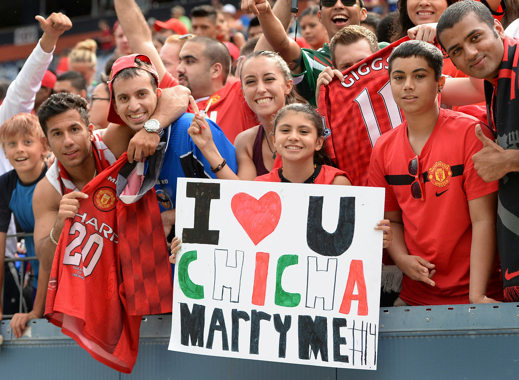 . Manchester United forward Javier Hernandez is a fan favorite, in part because of his role on the Mexican national soccer team. Manchester United defeated AS Roma 3-2 in an exhibition soccer game at Sports Authority Field in Denver Saturday afternoon, July 27, 2014. Photo by Karl Gehring/The Denver Post