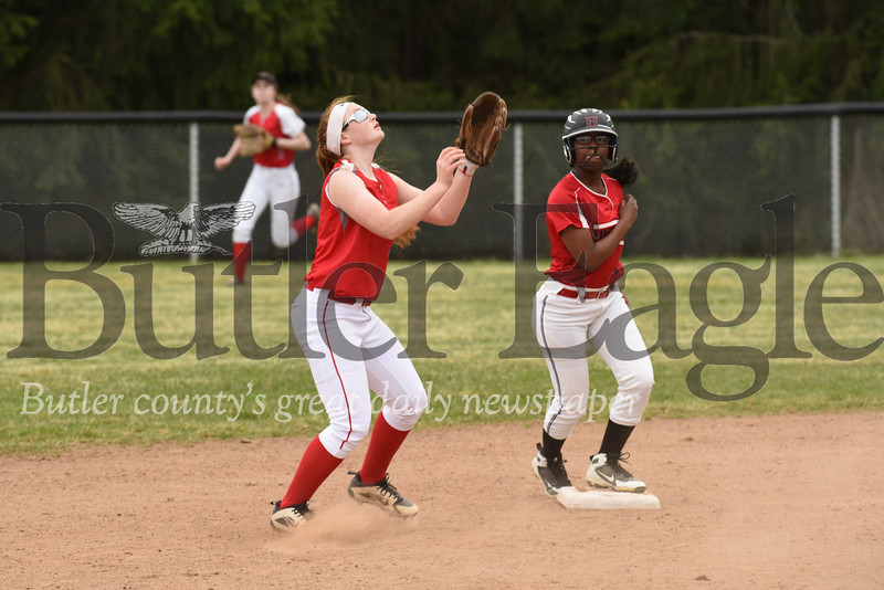 Slippery Rock's Julia Hart sets up to catch and infield fly during the loss to Hickory Wednesday.