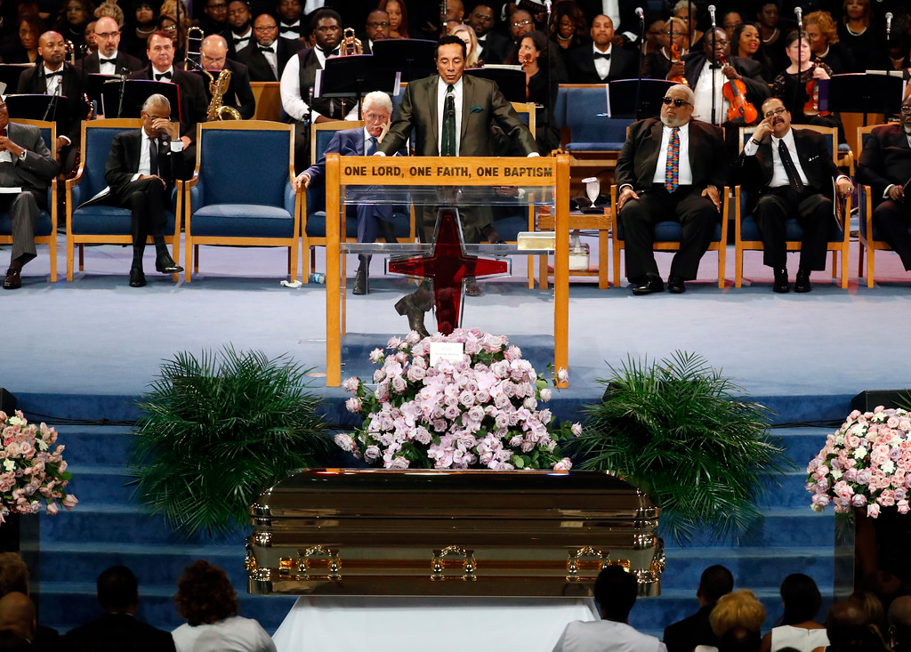 . Smokey Robinson speaks during the funeral service for Aretha Franklin at Greater Grace Temple, Friday, Aug. 31, 2018, in Detroit. Franklin died Aug. 16, 2018 of pancreatic cancer at the age of 76. (AP Photo/Paul Sancya)
