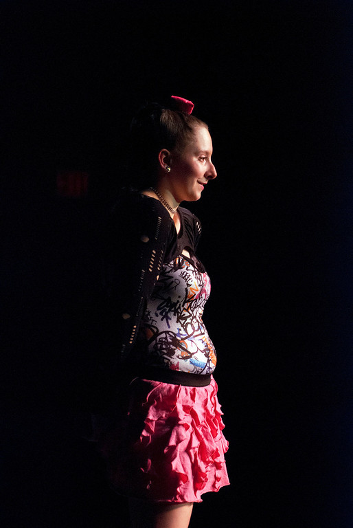 . Kayla Rice/Reformer Israel Cavanagh poses on the runway during the 2014 Brattleboro Winter Carnival\'s Queen\'s Pageant on Friday night.