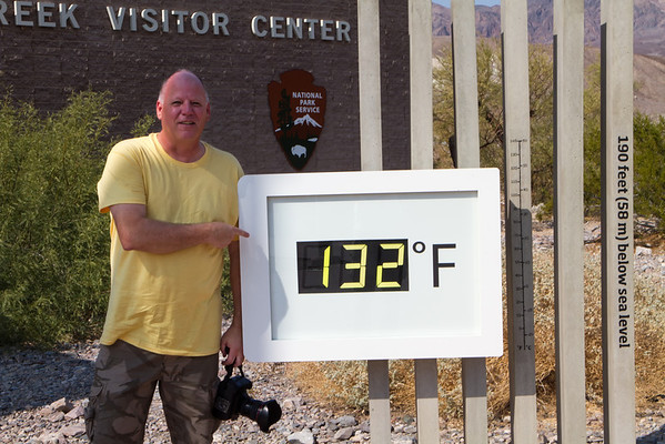 Peter Tellone at Furnace Creek Visitor Center in Death Valley, thermometer showing 132 degrees