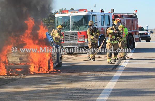 4/1/17 - Mason car fire, US-127 at Barnes Rd