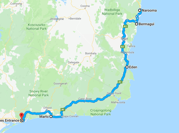Map from Narooma to Lakes Entrance
