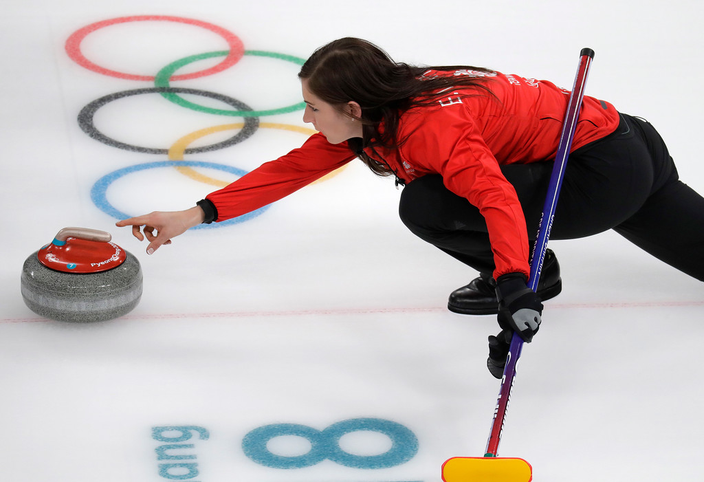 . Britain\'s skip Eve Muirhead launches the stone during their women\'s curling match against Japan at the 2018 Winter Olympics in Gangneung, South Korea, Saturday, Feb. 24, 2018. Japan won the bronze. (AP Photo/Aaron Favila)
