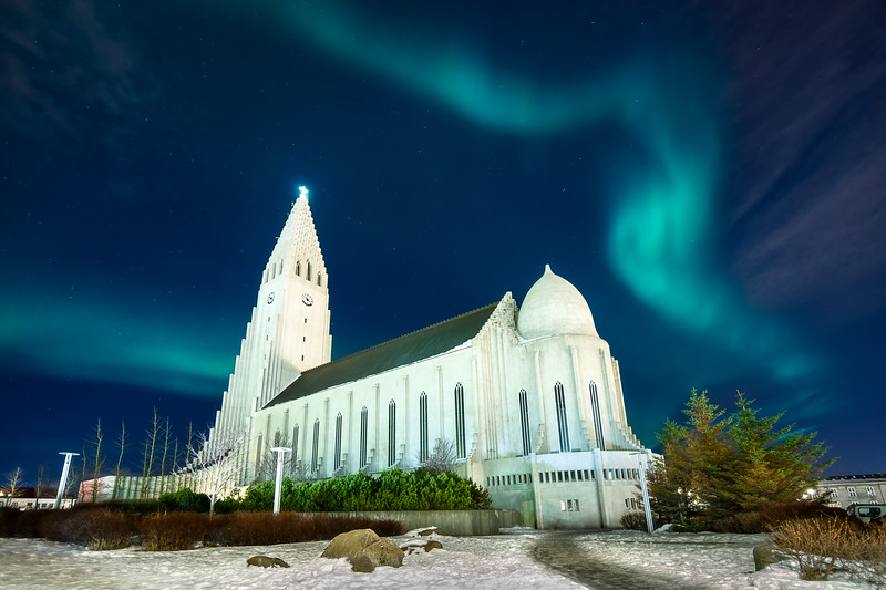 Hallgrimskirkja Northern Lights Reykjavik Iceland Landscape Photography_1.jpg