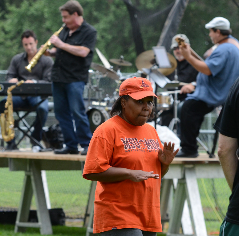 . Members of the Montgomery County Concert Band perform during the 26th Annual Lansdale Festival of the Arts in Memorial Park on Saturday August 23,2014. Photo by Mark C Psoras/The Reporter