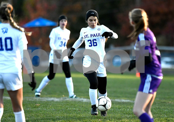 11/11/2017 Mike Orazzi | Staff St. Paul's Isabella Griffin (36) during the Class S Quarterfinals held at St. Paul Catholic High School Saturday. St. Paul won 2-1 in double overtime.