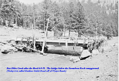 Box Elder Creek after the flood 6/9/72.  The bridge below the Steamboat Rock campground.  (Today it is called Erskine Gulch Road off of Nemo Road)