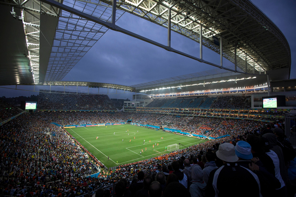. Soccer fans watch the World Cup semifinal match between the Netherlands and Argentina in the Itaquerao Stadium, in Sao Paulo Brazil, Wednesday, July 9, 2014. The match remained scoreless at haltime (AP Photo/Felipe Dana)