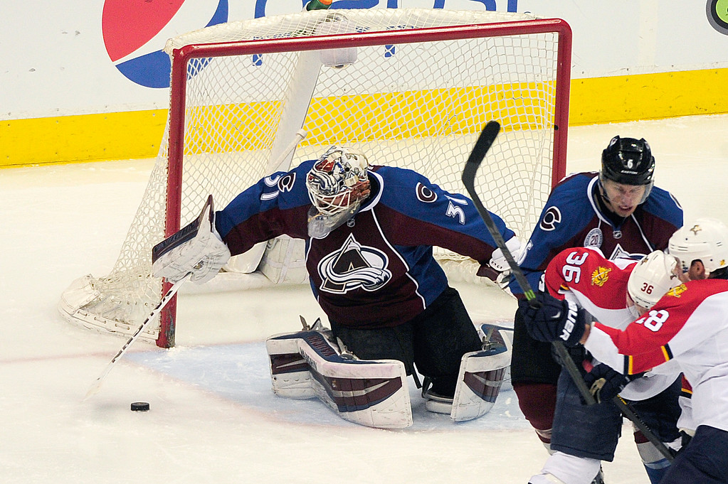 . DENVER, CO - MARCH 3: Colorado Avalanche goalie Calvin Pickard (31) jumps on a shot during the second period at the Pepsi Center on March 3, 2016 in Denver, Colorado. (Photo by Brent Lewis/The Denver Post)