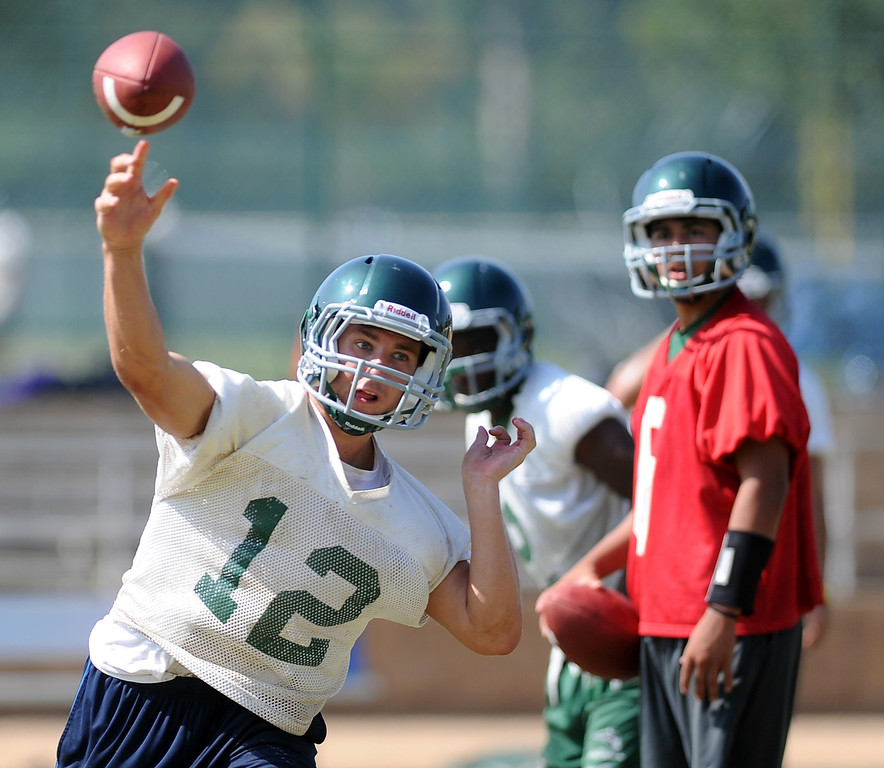 . QB/RB Adam Goss (12) during morning practice at South Hills High School on Friday, Aug. 9, 2013 in West Covina, Calif.   (Keith Birmingham/Pasadena Star-News)