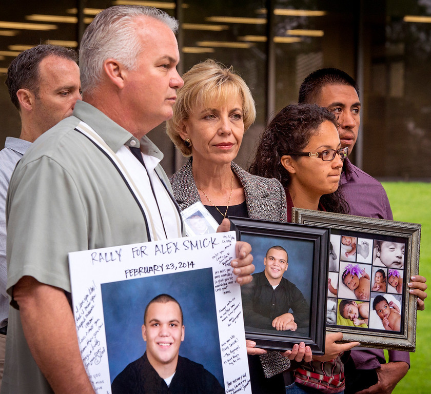 . Tim and Tammy Smick, left, of Downey, Calif. attend a Consumer Watchdog press conference announcing the gathering 840,00 signatures to qualify the placement of The Troy And Alana Pack Patient Safety Act instituting doctor drug testing on November ballot at the Los Angeles County Recorder\'s Office in Norwalk, Calif. March 24, 2014.  The Smick\'s son Alex died in a hospital due to medical negligence. (Staff photo by Leo Jarzomb/San Gabriel Valley Tribune)