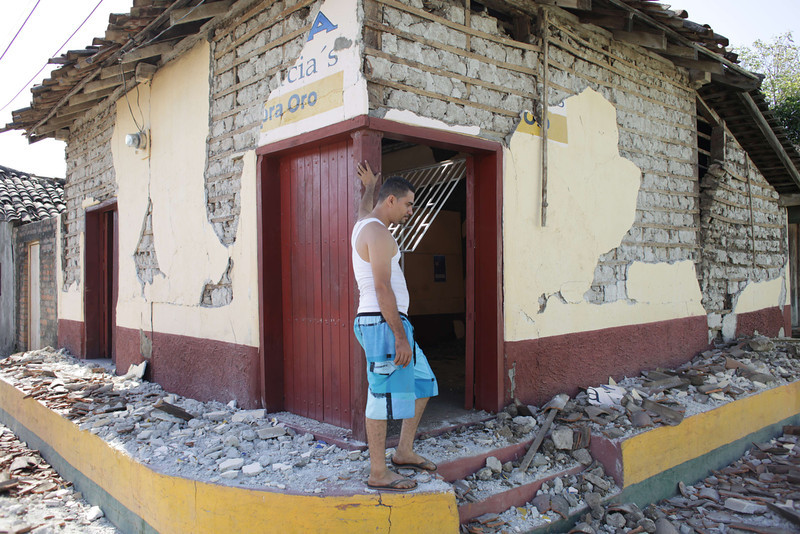 . A man stays by the door of his home damaged by an earthquake on the eve, in Nagarote, some 40 Km from Managua, on April 11, 2014. A 6.2-magnitude earthquake that struck Nicaragua killed one person, left 33 injured and damaged more than 800 homes, the government said Friday.  (Inti Ocon/AFP/Getty Images)