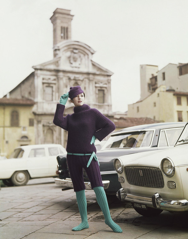 . An after-ski complete of violet wool with gloves and stockings handmade of sky-blue wool, and with a beret of the same wool as the dress. It is a creation by the Alberto Fabiani fashion house of Rome and Paris, and was presented at the Florence show of Italian spring and summer fashions in Italy, Jan. 18, 1965. (AP Photo/Mario Torrisi)