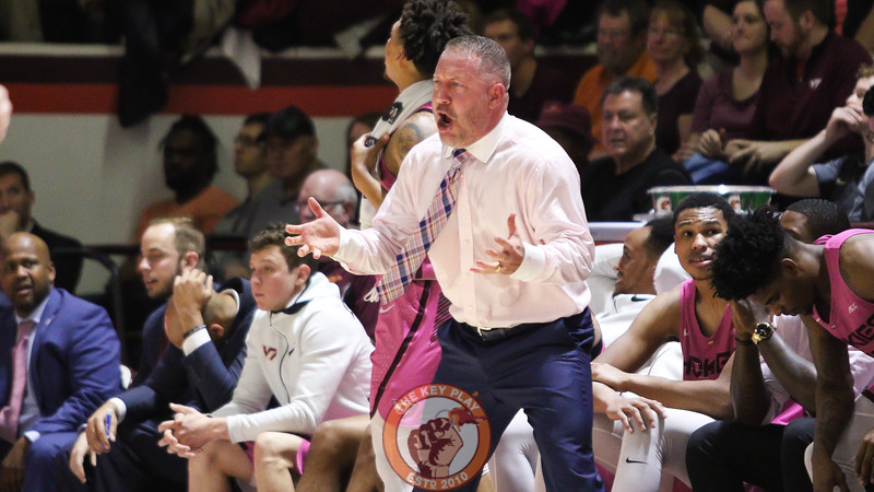 Hokies head coach Buzz Williams yells for a travelling call against Louisville in the first half. (Mark Umansky/TheKeyPlay.com)