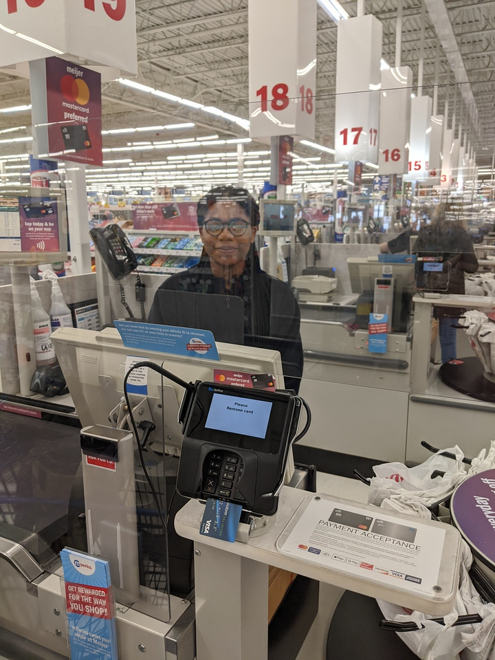 My cashier behind her plexiglas shield (asked permission to photo), Meijer Huber Heights, Apr 19, 2020