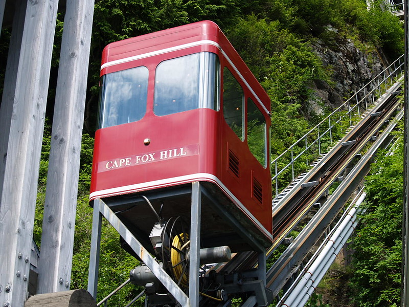 The funicular car up to Cape Fox Lodge. It's $2 to ride unless there is no attendant (2006).