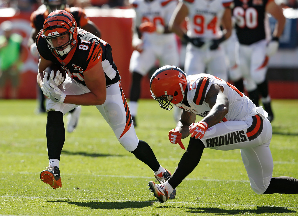 . Cincinnati Bengals tight end Tyler Kroft (81) runs after a pass reception in the first half of an NFL football game against the Cleveland Browns, Sunday, Oct. 1, 2017, in Cleveland. (AP Photo/Ron Schwane)