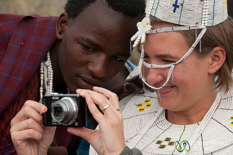 Sharing Photos in Masai Village - Lake Manyara, Tanzania