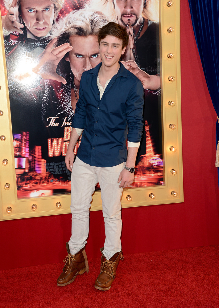 ". Actor Sterling Beaumon attends the premiere of Warner Bros. Pictures\' ""The Incredible Burt Wonderstone\"" at TCL Chinese Theatre on March 11, 2013 in Hollywood, California.  (Photo by Jason Merritt/Getty Images)"