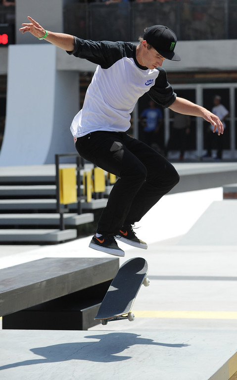 . Shane O-neill rides in the Street League Skateboarding final at L.A. Live in Los Angeles, CA. 8/3/2013(John McCoy/LA Daily News)