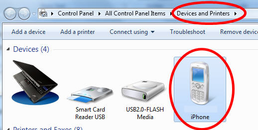 iPhone Appearing in Windows 7 Devices Set Up