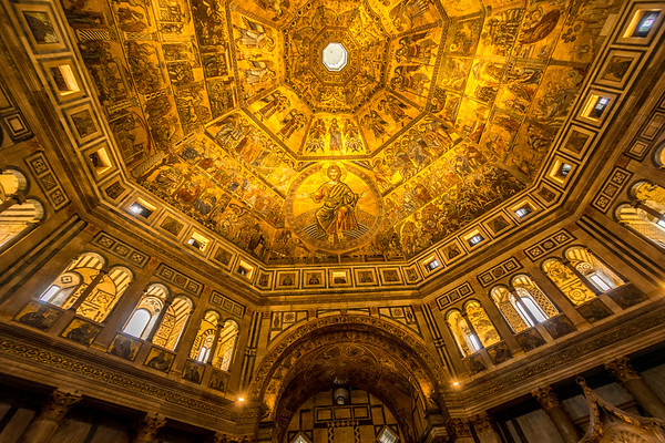 The mosaic ceiling of the Baptistery in Florence,  Italy