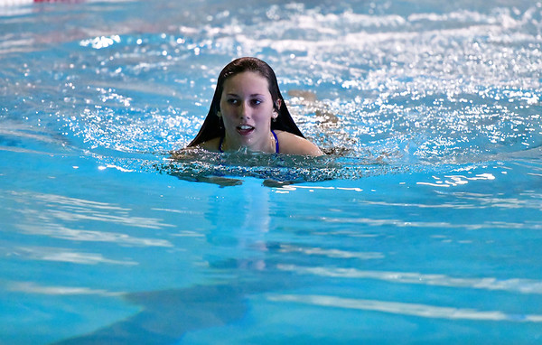 10/12/2019 Mike Orazzi | Staff Bristol Eastern's Madison Chasse during the city swim meet on Saturday night.