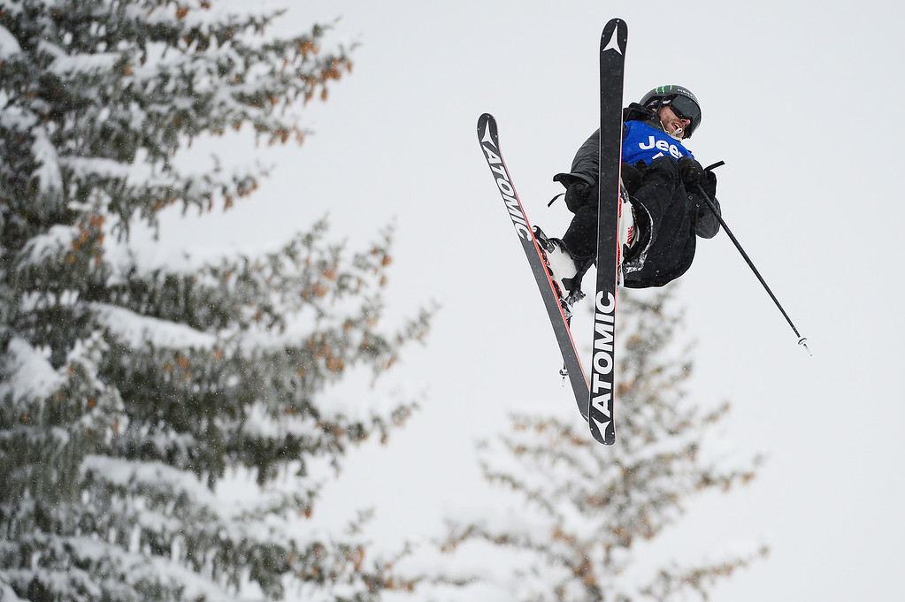 . ASPEN, CO - JANUARY 31: Jossi Wells rotates on the second jump in his third run during Men\'s Ski Slopestyle at Winter X Games 2016 at Buttermilk Mountain on January 31, 2016 in Aspen, Colorado. Jossi Wells won the event with a score of 90 coming after his last run. (Photo by Brent Lewis/The Denver Post)