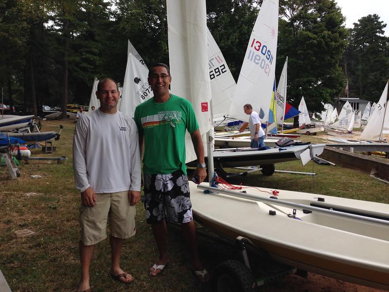 9/20 Lake Norman Yacht Club Board Bash Regatta  ECU Club Soccer pal Jaime Espinosa now racing a Laser